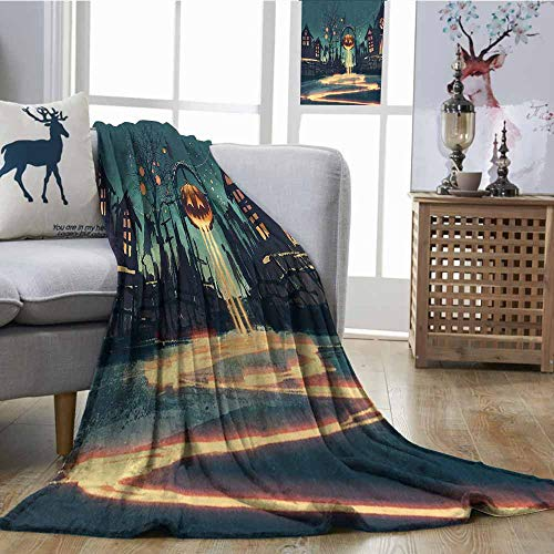 Throw Blanket Fantasy Art House Decor Halloween Theme Night Pumpkin and Haunted House Ghost Town Artful Blanket for Sofa Couch Bed W60 xL80 Teal Orange