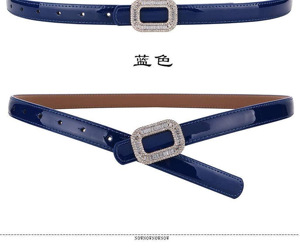 ladys dress. water cowhide Leather fashion strap slender belt diamond