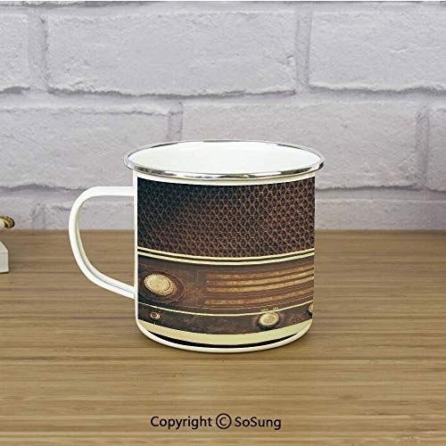 Vintage Decor Enamel Camping Mug Travel Cup,Old Antique Retro 60s Radio Music Player Loudspeakers Buttons Image,11 oz Practical Cup for Kitchen, Campfire, Home, TravelBrown and White