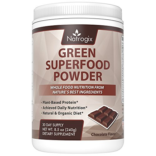 Price comparison product image Natrogix Green Superfood Powder - Plant-Based Protein,  Achieve Daily Food Nutrition,  Natural & Organic Diet,  Riches in Vitamins,  Minerals and Antioxidant Fruits,  Chocolate Flavor,  Made in USA (8.5 Oz)
