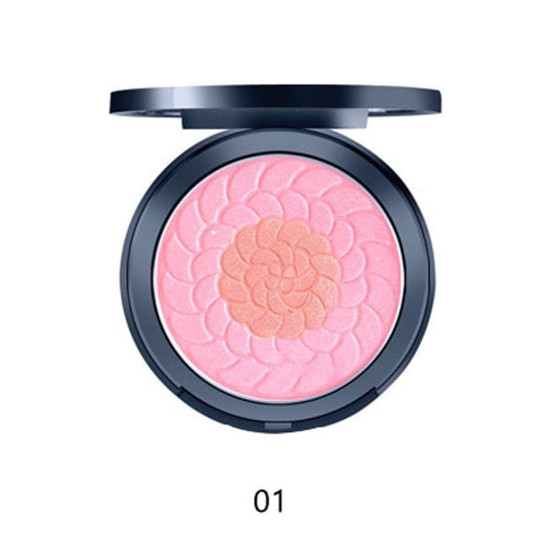 Double-Color Blusher,Natural Mineral Powder Blend,for Radiant Glow Blush,Pink Long Lasting Magic Finish Formula for Face Cheek Glow (A)