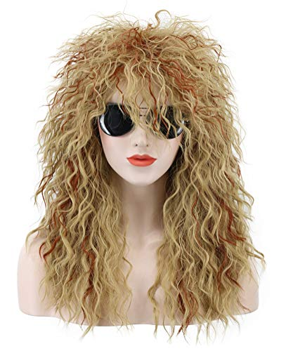 Karlery Men Women Long Curly Orange Mix Blonde 70s Heavy Metal Rocker Mullet Wig 80s Costume Anime Wig ()