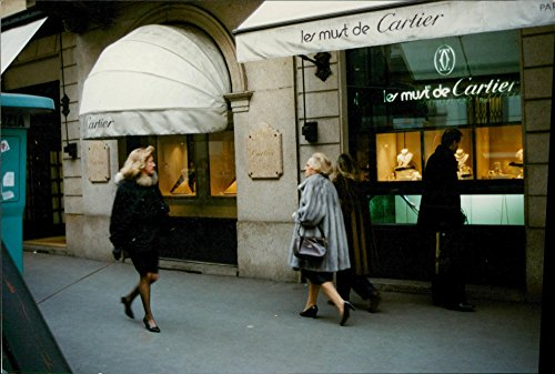 Vintage photo of Fashionable business street, gold and jewelry is one of the largest export goods, this Cartier store