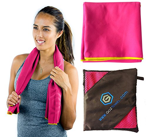 Microfiber Sport Towel Best for Travel Yoga Beach Fitness Gym | Antibacterial Quick Dry Super Absorbent Light Pack | Includes FREE Bag | Get Toweled NOW! (SMALL (20 x 40 in.) - Pink)