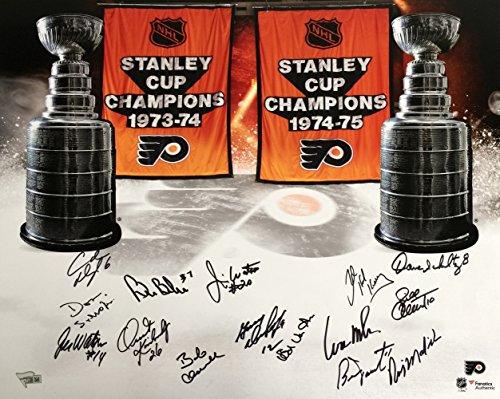 1973-75 Philadelphia Flyers Team Signed 15 Auto 16x20 Stanley Cup Champions Photo Fanatics