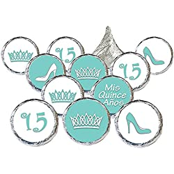 Quinceanera Party Favor Stickers, 324 Count (Robin's Egg Blue)