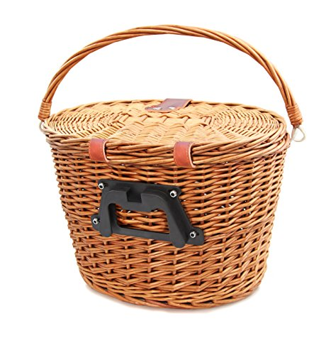Colorbasket 01587 Adult Front Handlebar Wicker Bike Basket with Lid, Quick Release