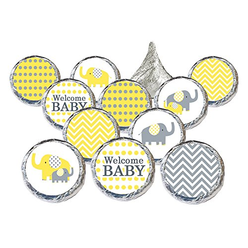 Yellow and Gray Elephant Baby Shower Favor Stickers for Hershey Kisses (Set of 324)