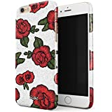 Glitbit iPhone 6 / 6s Case Embroidered Print Red Rose Stylish Tumblr Animal Chic Vintage For Girls Thin Design Durable Hard Shell Plastic Protective Case For Apple iPhone 6 / 6s
