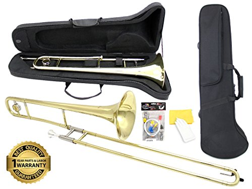 D'Luca 750L 750 Series Brass Bb Tenor Slide Trombone, Professional Case, Cleaning Kit, Gold by D'Luca