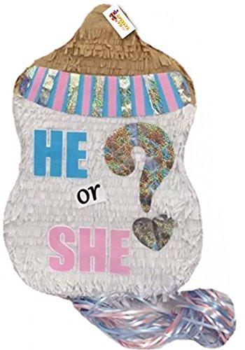 APINATA4U He or She? Baby Bottle Gender Reveal Pull Strings -