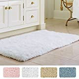 Norcho 31'' x 19'' Soft Shaggy Bath Mat Non-slip Rubber Bath Rug Luxury Microfiber Bathroom Floor Mats Water Absorbent White
