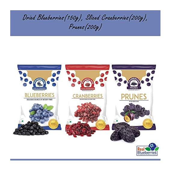 Wonderland Foods Low-Sugar Dried Fruits Berries Combo Pack (Blueberry 150 g, Sliced Cranberry 200 g, Prunes 200 g) Valentines Day Gift