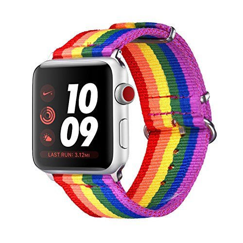 (Bandmax Compatible Rainbow Apple Watch Bands LGBT, Comfortable&Durable Sport Straps Nylon Replacement Wristband Accessories with Metal Buckle Compatible iwatch Series 4/3/2/1 42MM 44MM)