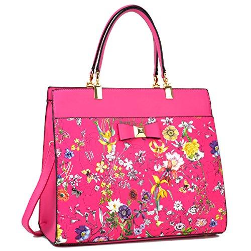 Bow Handbag Purse - Dasein Women's Fashion Designer Satchel Handbags Purse Shoulder Bag Work Bag With Removable Shoulder Strap (F-6338 Fuchsia Floral)