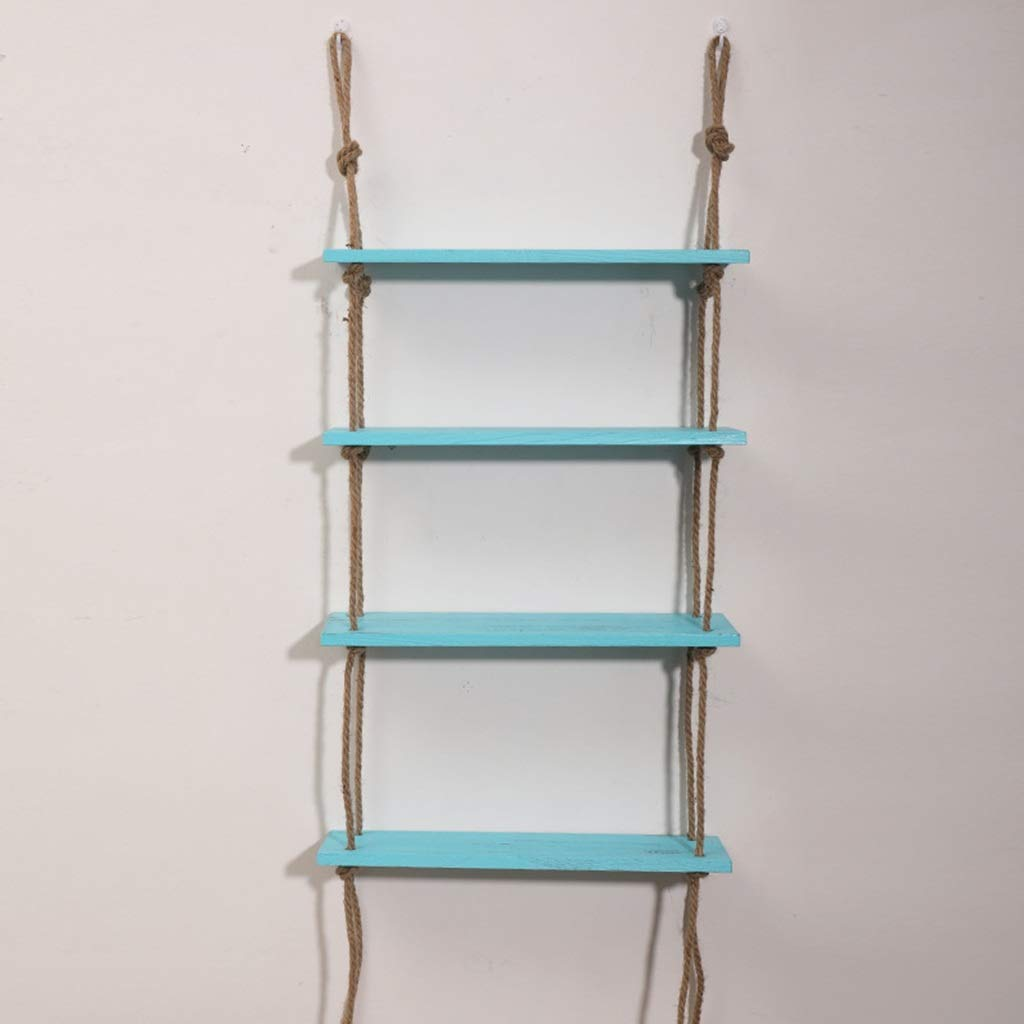 Shelf Wooden Hanging Shelf Wall Hanging Swing Storage Shelves Jute Rope Storage Cabinet Wooden Hanging Rack Swing Rope Floating Shelf 2-3 Layer Jute Rope Wall Display Stand