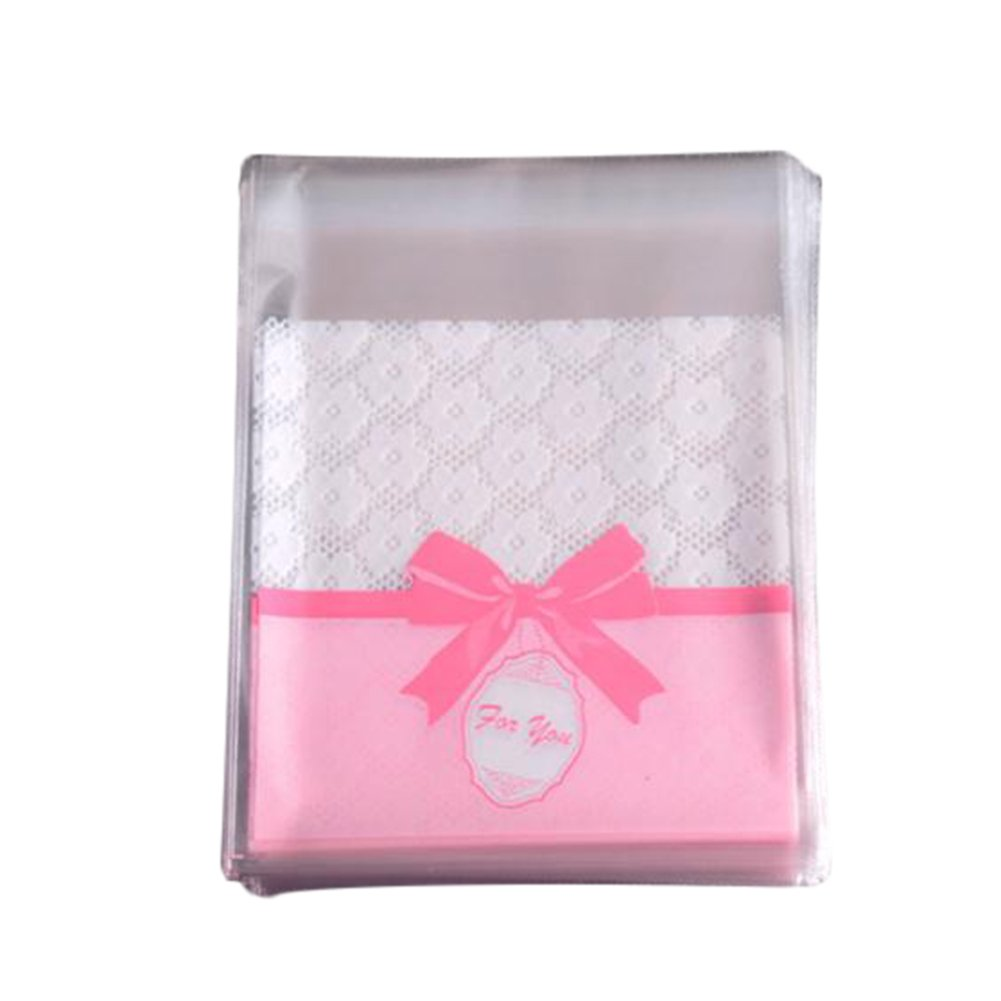 Leisial 100 pcs Bowknot Printed Biscuit Self Adhesive Cellophane Plastic Material Xmas Gift Package for Candy Bar Wedding Anniversary Christmas Party(Style B) 209T1009L41MSZ1E