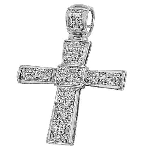 Dazzlingrock Collection 1.00 Carat (ctw) Micro Pave White Diamond Mens Hip Hop Religious Cross Pendant, Sterling Silver