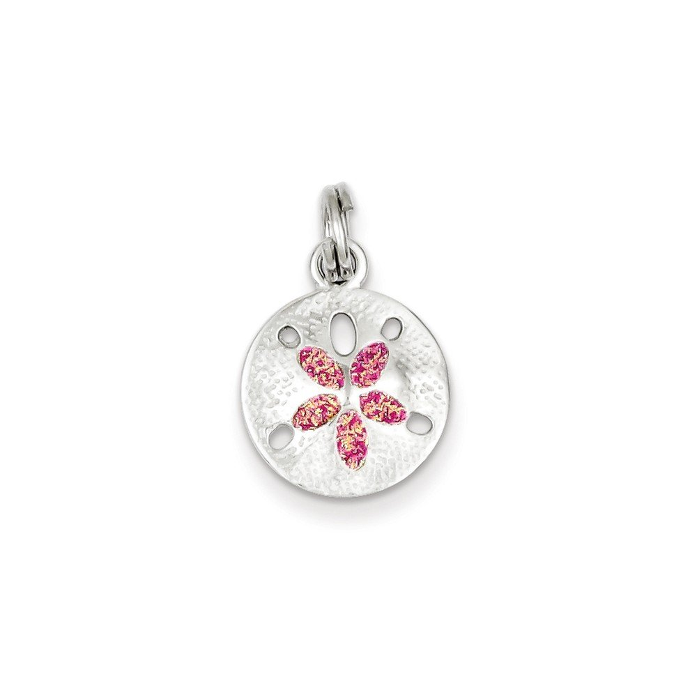 16-20 Mireval Sterling Silver Enamel Sand Dollar Charm on a Sterling Silver Chain Necklace
