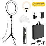 Fstop Labs 18 inch Photo Video Bi-color LED Selfie Ring Beauty Light with Stand, LED Dimmable & Color Temperature Adjustable Makeup Circle Lighting Kit