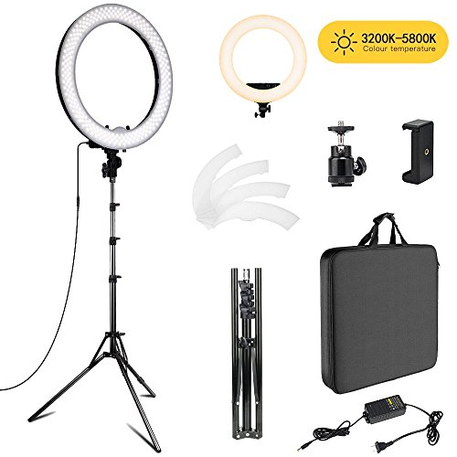 Right Height Natural (Fstop Labs 18 inch Photo Video Bi-color LED Selfie Ring Beauty Light with Stand, LED Dimmable & Color Temperature Adjustable Makeup Circle Lighting Kit)