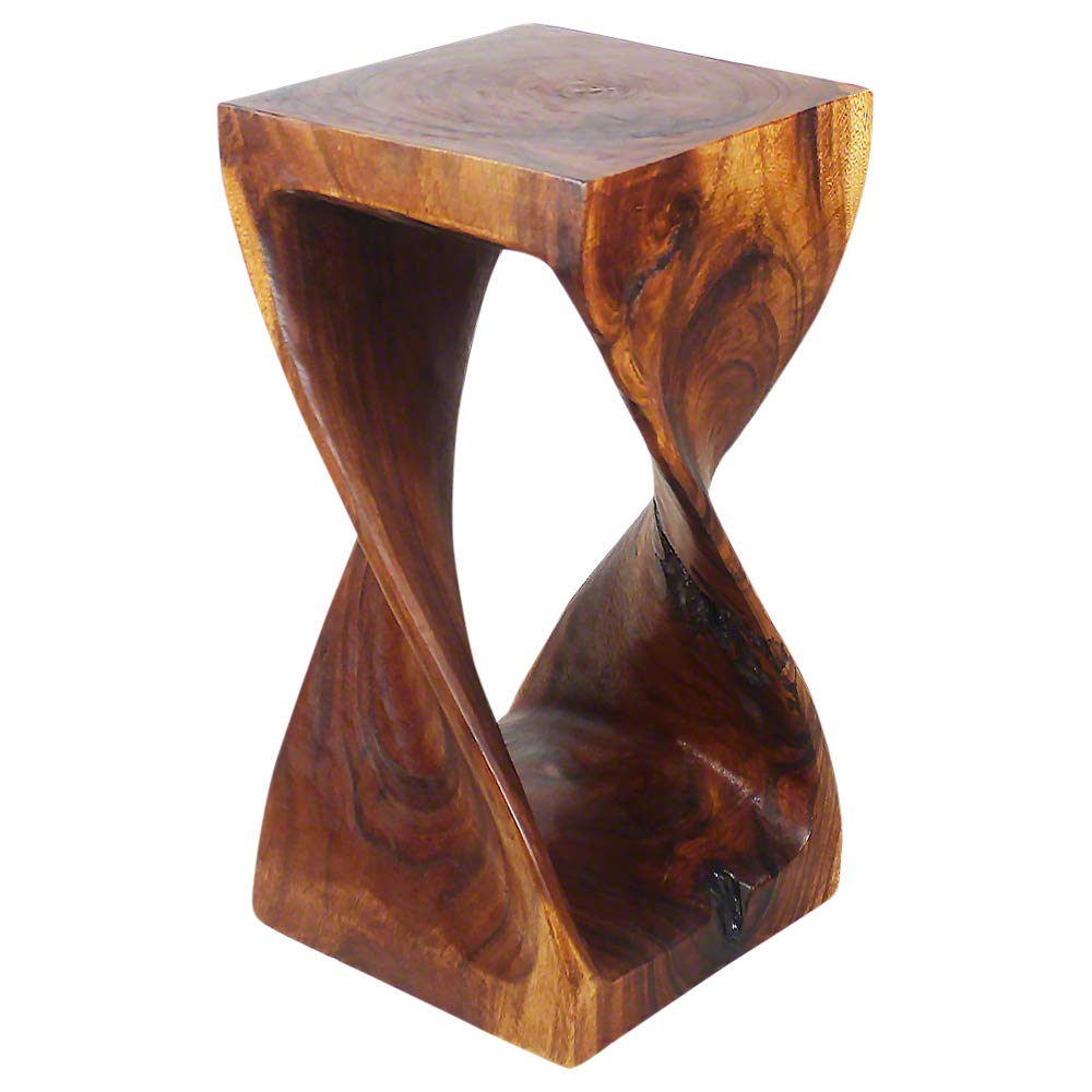 Haussmann Original Wood Twist Stool 12 X 12 X 23 in High Walnut Oil