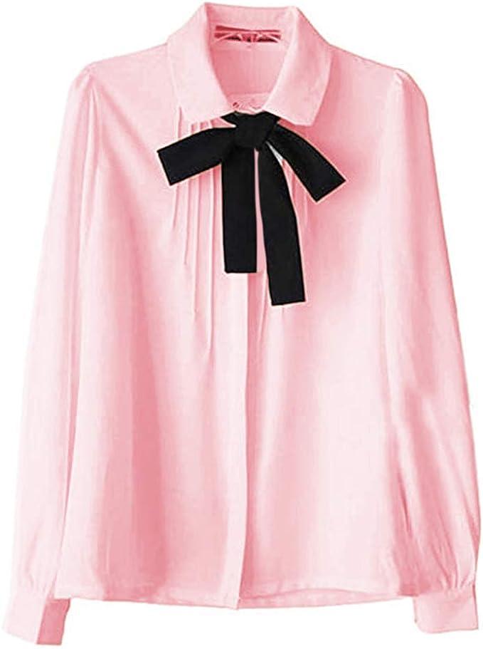 ETOSELL Lady Bowknot Collar Shirt