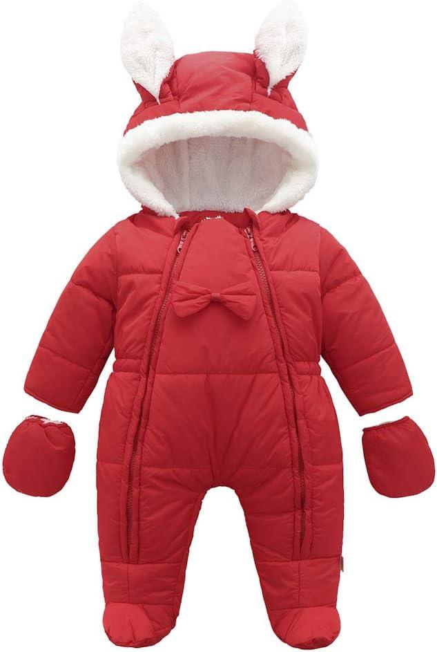 Baby Schneeanzug Strampler Spielanzug Winter Overall Rei/ßverschluss Vorne Mit Kapuze