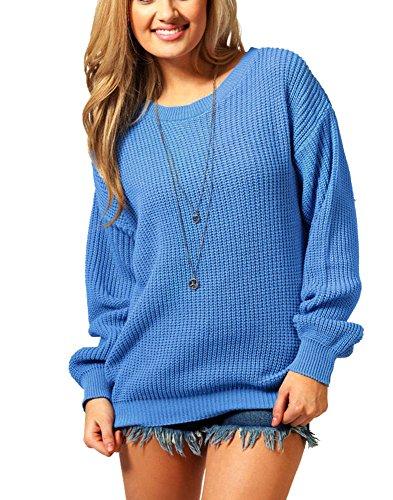Xl spesso oversize disponibili S a donna Dalla maglia da Taglie alla Maglione oversize Blu lavorato e AqU6qyc