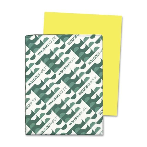 Wholesale CASE of 15 - Wausau Astrobrights Colored Paper-Astrobright Paper, 24Lb, 8-1/2''x11'', 500/PK, Lift Off Lemon by Wau (Image #1)