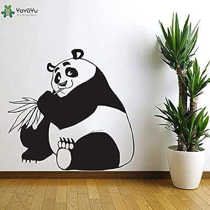 BailongXiao Vinilo Tatuajes de Pared Panda Comiendo bambú Animal Lindo niños habitación Arte Pegatina Animal Dibujos Animados Moderno rectángulo 42x40cm