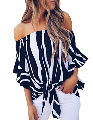 Women's Summer Off Shoulder Blouses Short Sleeves Sexy Tops Chiffon Ruffles Casual T Shirt (M, Striped Black)