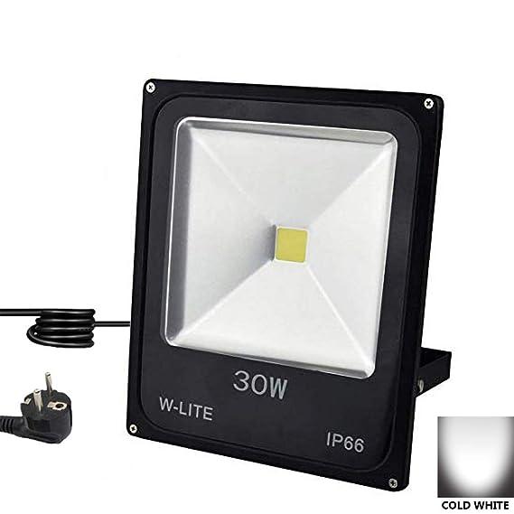 LED Strahler 30W Außen, Fluter Wandstrahler Outdoor, IP66 Wasserdicht Flutlichtstrahler Garten mit EU-Stecker [Energieklasse