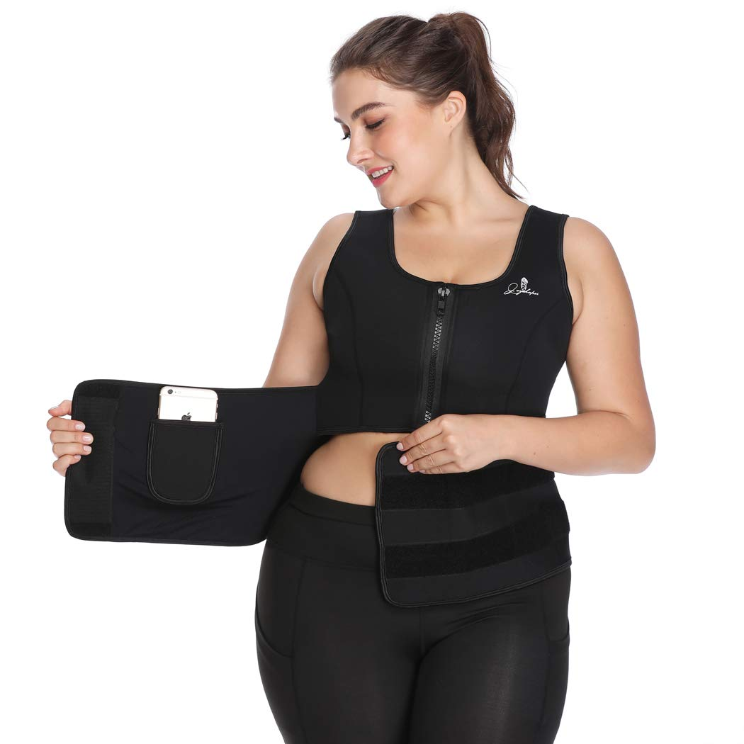 Sweat Vest for Women Waist Trainer Corset for Weight Loss Neoprene Sauna Suit Tank Body Shaper (Black, S)