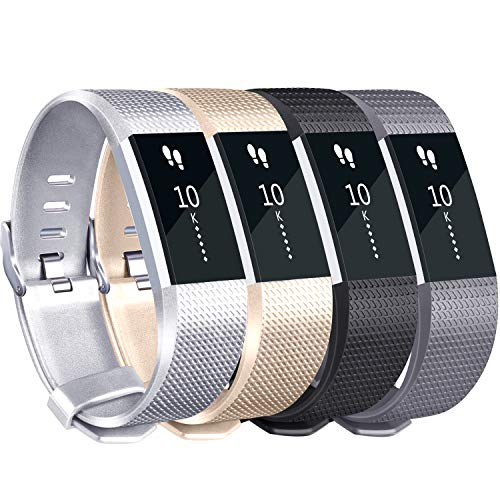 (Tobfit for Fitbit Charge 2 Bands (4 Pack), Sports Waterproof Replacement Bands for Fitbit Charge 2, Small, Large (#Classic-Champagne Gold, Silver, Black, Gray, Large))