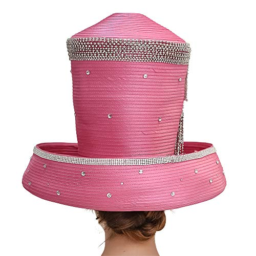 Koola Women's Silvery Church Derby Hat Big Wide Brim Wedding Hat Tea Party Hat (Pink)
