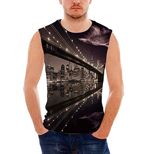Top Sleeveless Tees All Over Print Casual T- Shirts,Brooklyn ()
