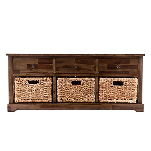 Organize Your Home With This Storage Bench Made of Manufactured Wood frame With Acacia Wood Veneers and 3 Water Hyacith Baskets and Metal Hardware with 3 Drawers in Brown Color