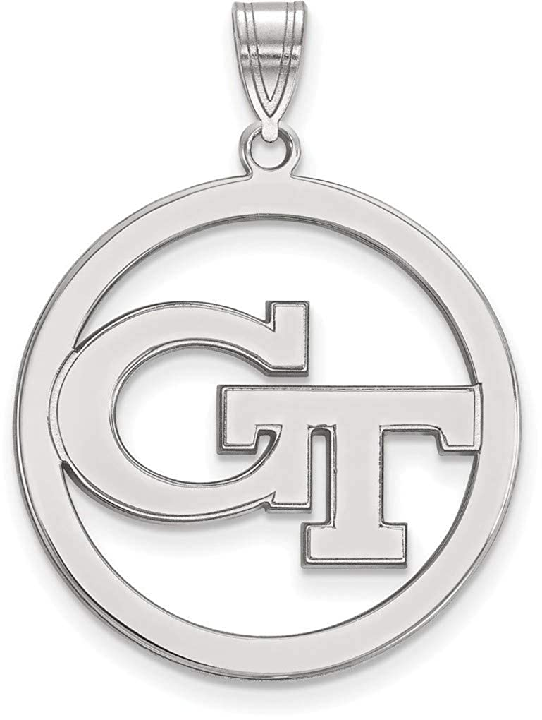 Sterling Silver Georgia Institute of Technology Large Pendant Circle by LogoArt