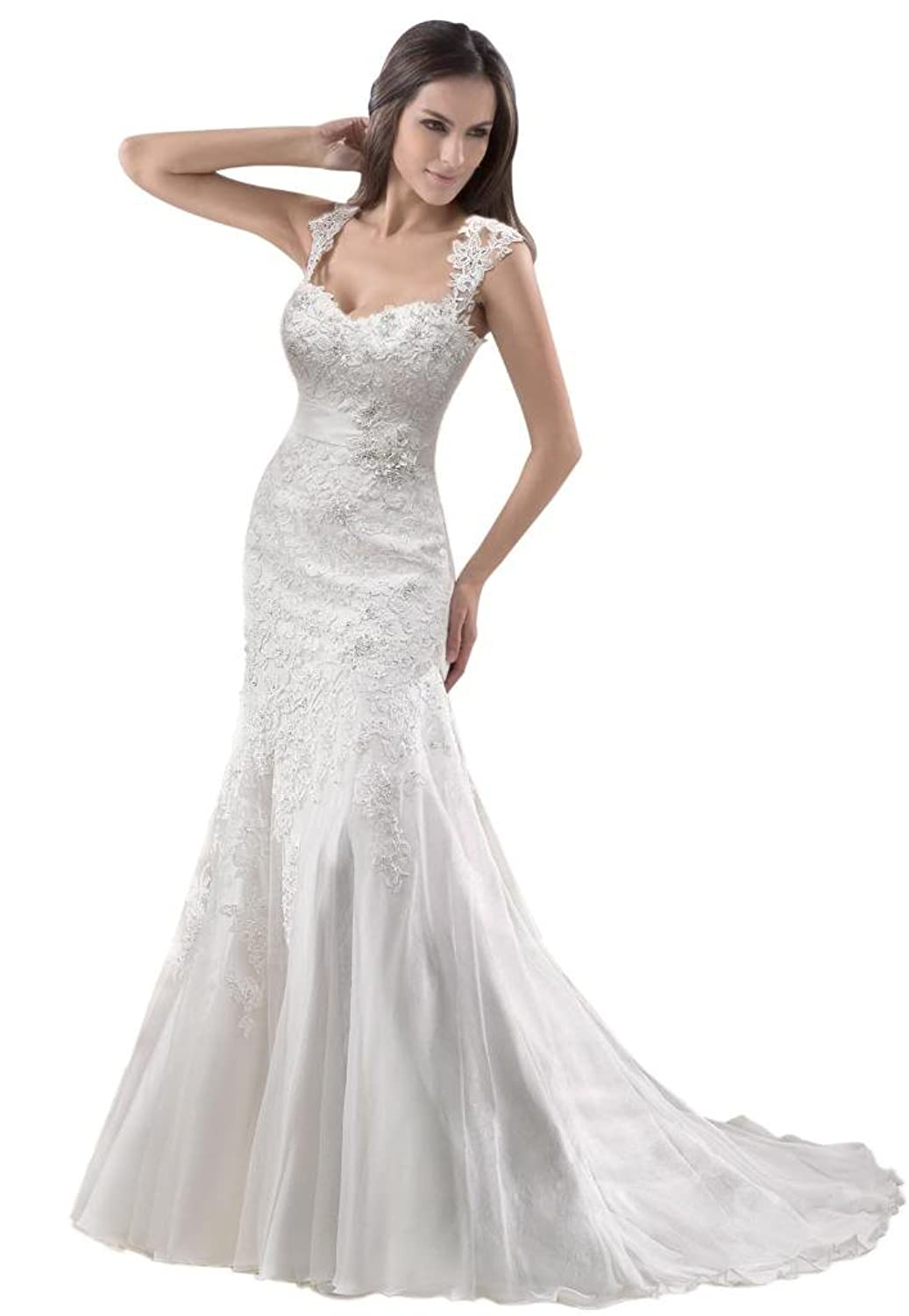 George Bride Removable Lace Strap Chapel Train Wedding Dress At