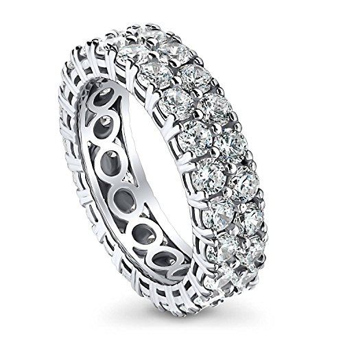 BERRICLE Rhodium Plated Sterling Silver Cubic Zirconia CZ Anniversary Wedding Eternity Band Ring Size 5