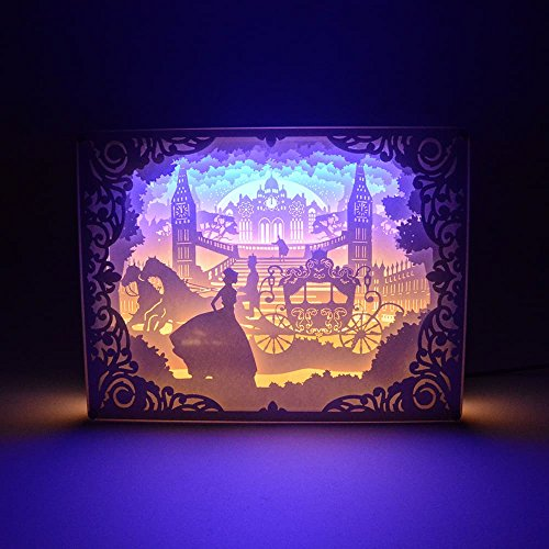Cheap Paper-Cutting Light Box, 3D Shadow 1.7W USB LED Night Light, Creative Lamp Art Decor for Children and Adults, Kids Baby Nursery Bedroom Living Room Night Lamp (Princess in The Castle)