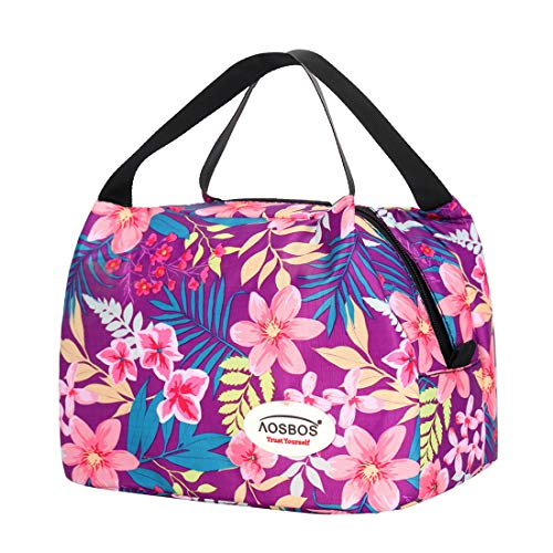 - Aosbos Reusable Insulated Lunch Box Tote Bag (Rich Flowers)
