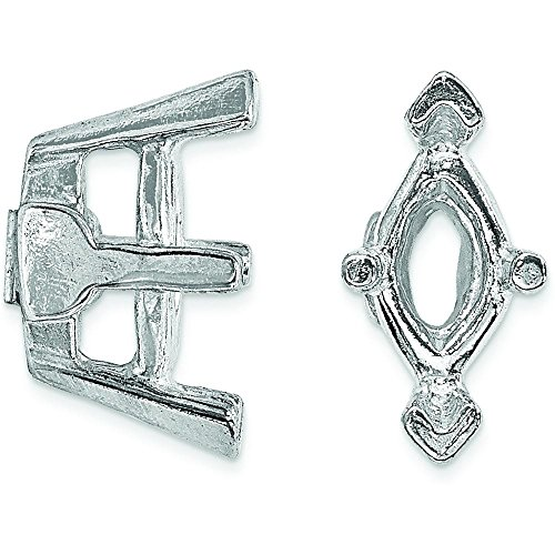 14K White Gold 6 Prong Marquise V-End Setting 6x3mm