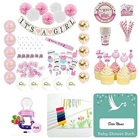 Baby Shower Party Box f/ür M/ädchen oder Jungs Its a Boy Its a Girl Deko und Spiele Set 125 Teile blau