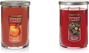 Yankee Candle Large 2-Wick Tumbler Candle, Spiced Pumpkin & Large 2-Wick Tumbler Candle, Red Apple Wreath