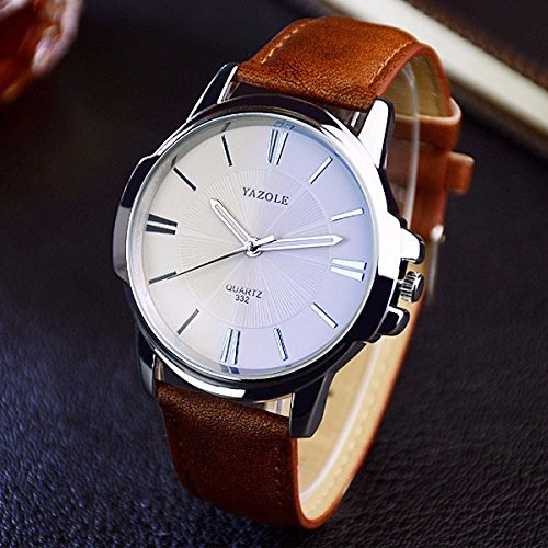 Amazon.com: YAZOLE 332 Men Watches Luxury Famous Male Clock Quartz Watch Brown Leather Wrist Watch: Watches
