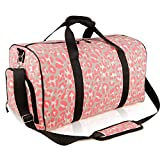Cheap Sports Gym Bag Travel Duffle Weekender Overnight Carry On Luggage with Shoe Compartment for Men Women Pink Leopard DEMOMENT