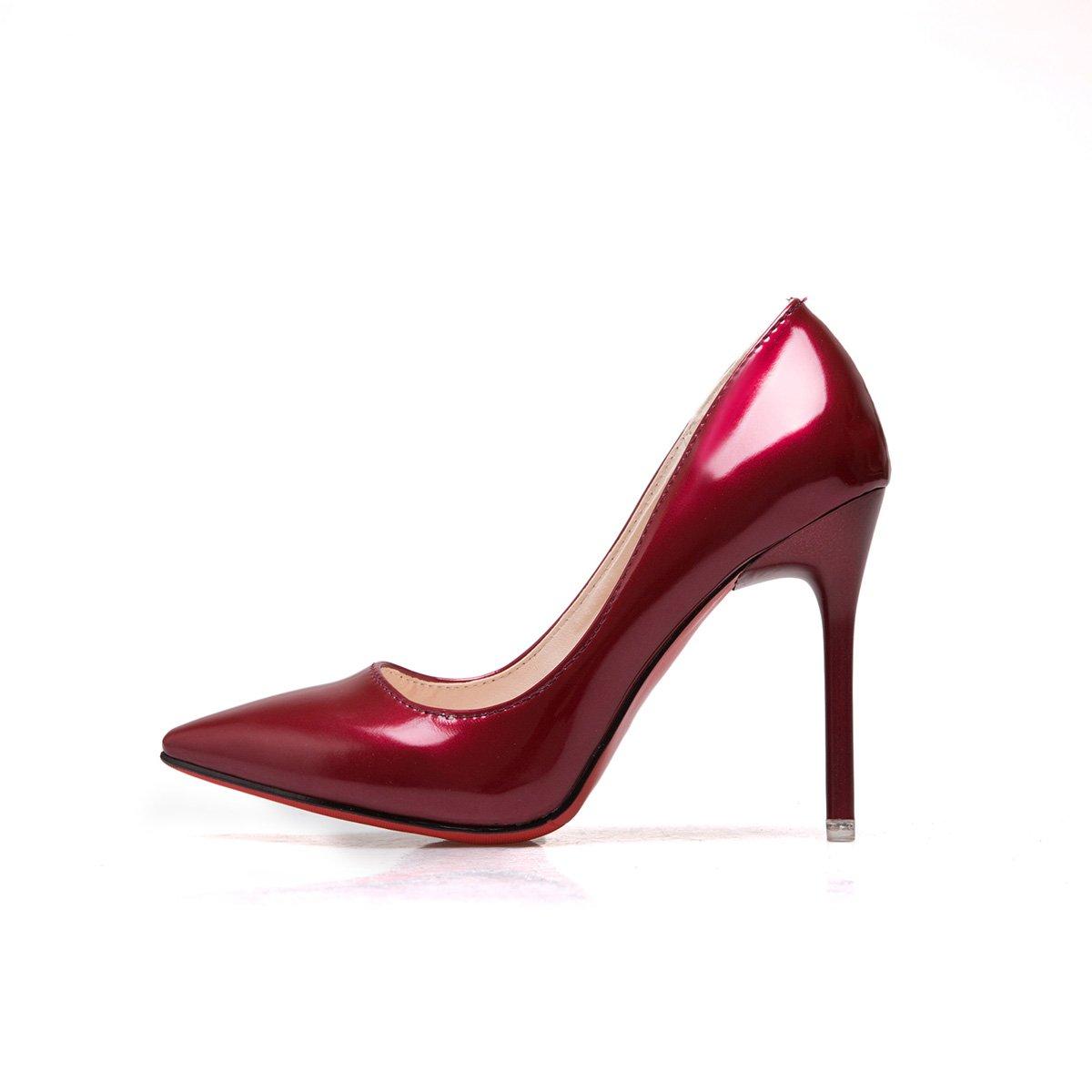 Xue Qiqi Licht - Schuhe bemalte Leder Einzel Schuhe fein mit einem spitzen Schuhe - mit hohen Absätzen und vielseitige Karriere Schuhe weiblich, 38, Merlot (10 cm) - 0c843a