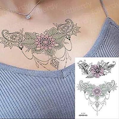 3ps-Tatuaje esternal Triángulo negro Tatuaje Cuerpo Brazo Cadena ...